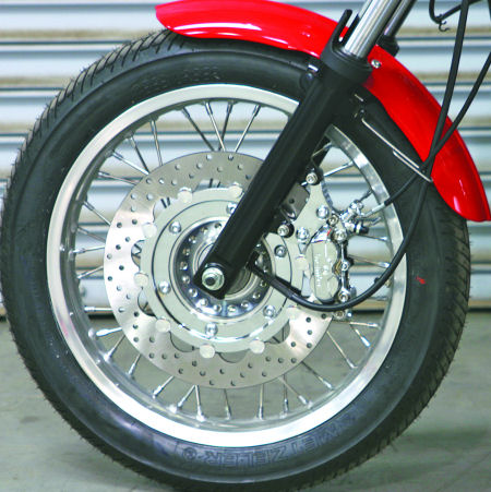 Brembo 320mm Floating Rotor and 4 Piston Front Brake Kit For the Triumph Bonneville, T100, Thruxton, America, and Scrambler